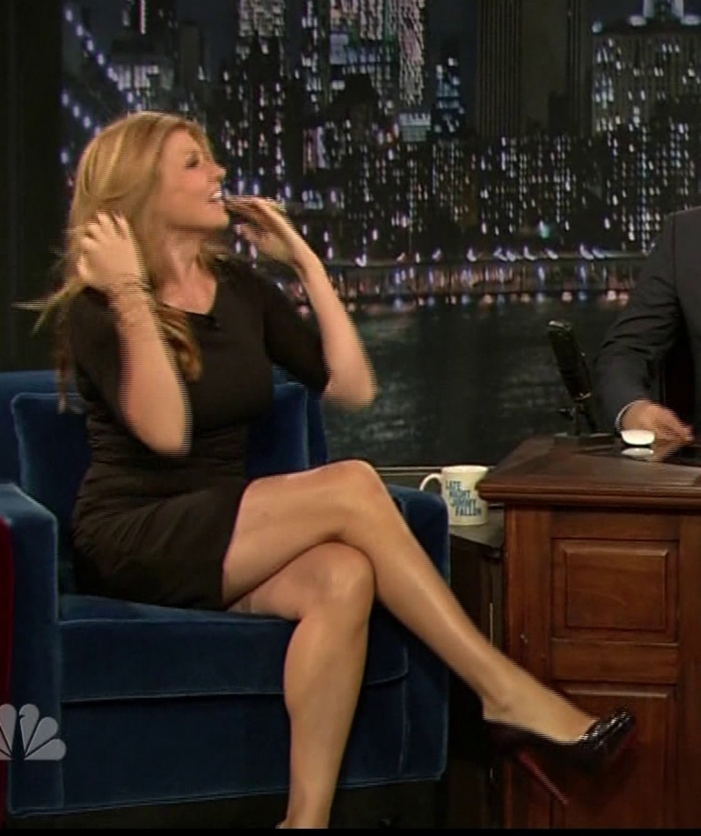 Connie Britton crossed legs on Late Night