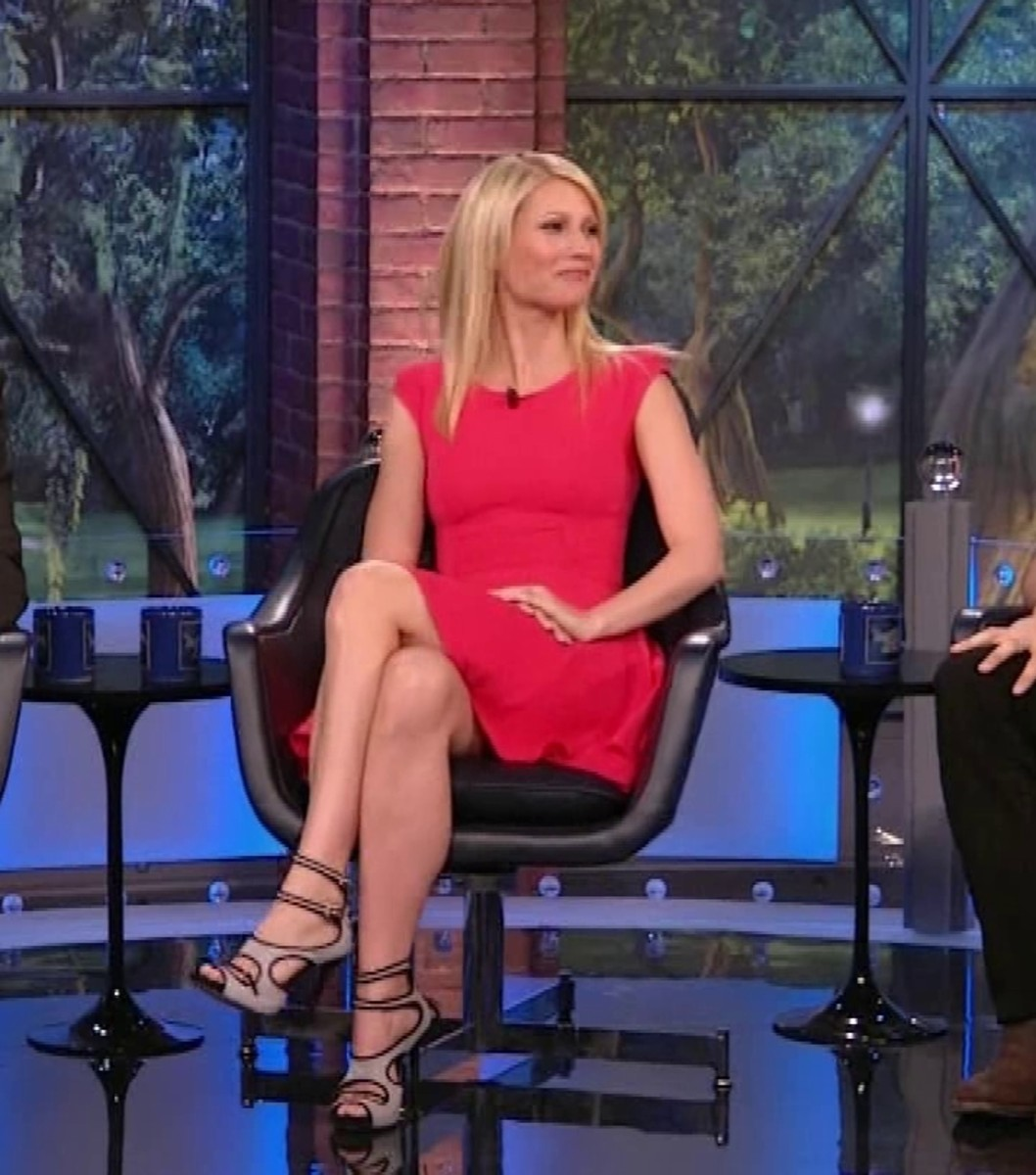 Gwyneth Paltrow crossed legs on TV