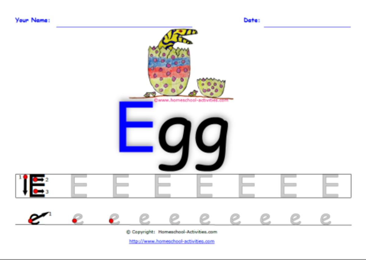 Alphabet letter E handwriting practice worksheet printable