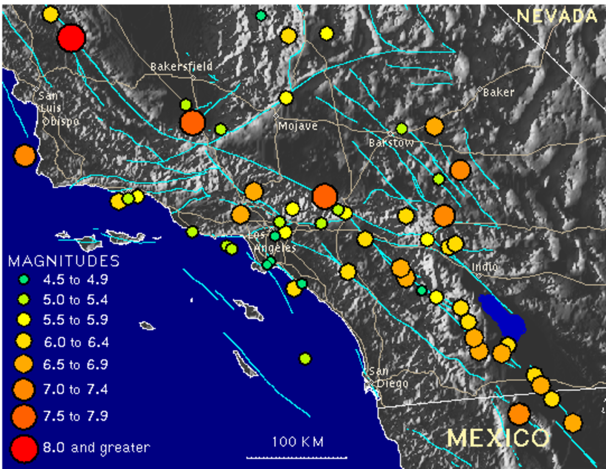 map of the many earthquakes that have occurred in california