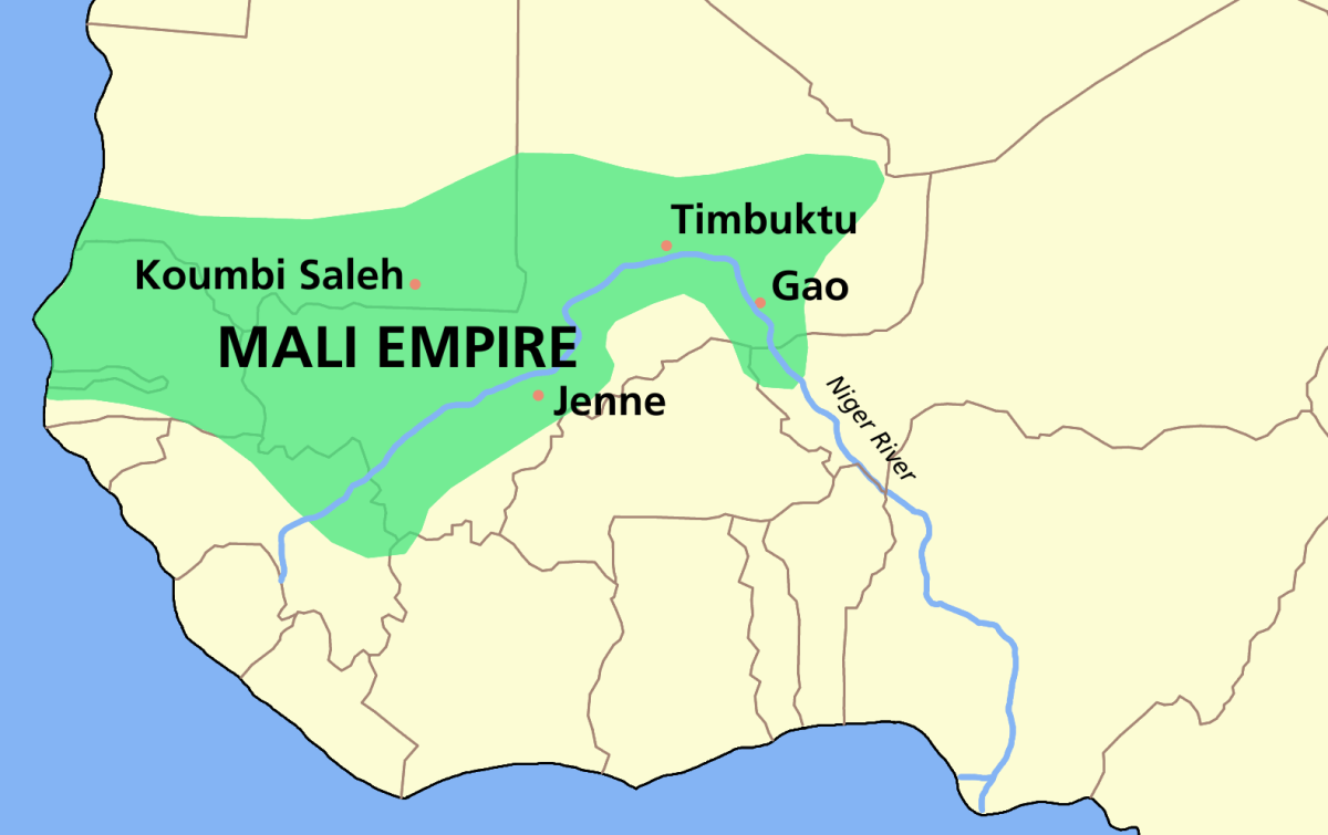 The Geographical position of the Empire of Mali on the African Continent