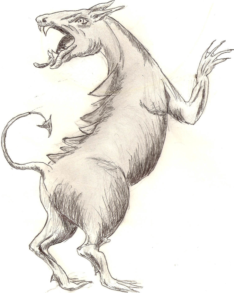 Chupacabra sketch by Dolores Monet