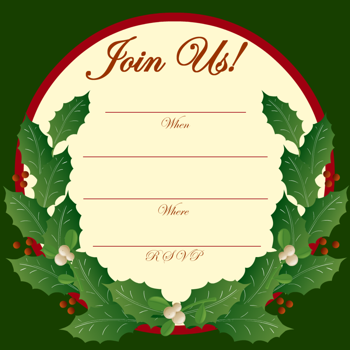 Holly and Mistletoe Invitation for a Holiday Party