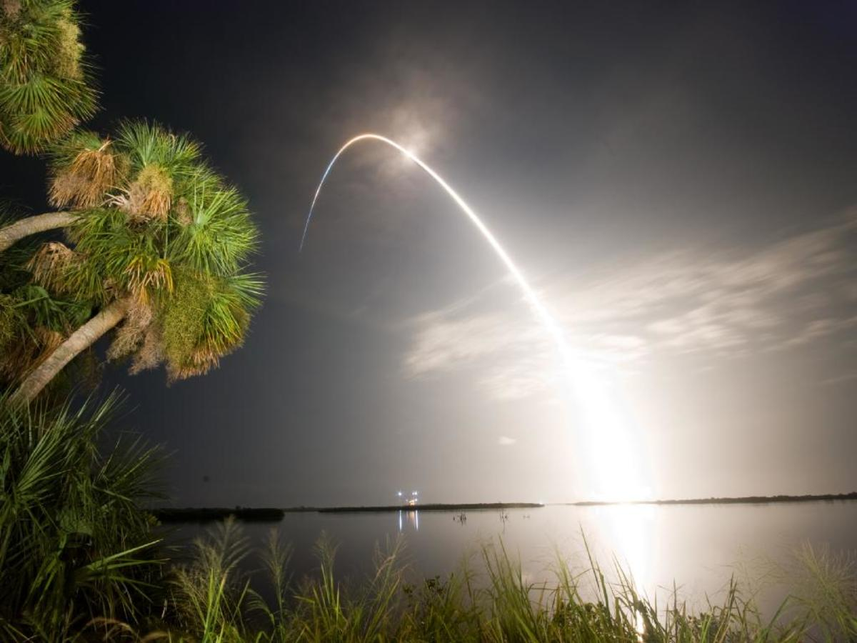 Night launch of STS-128 as Seen from the Banana River Viewing Site