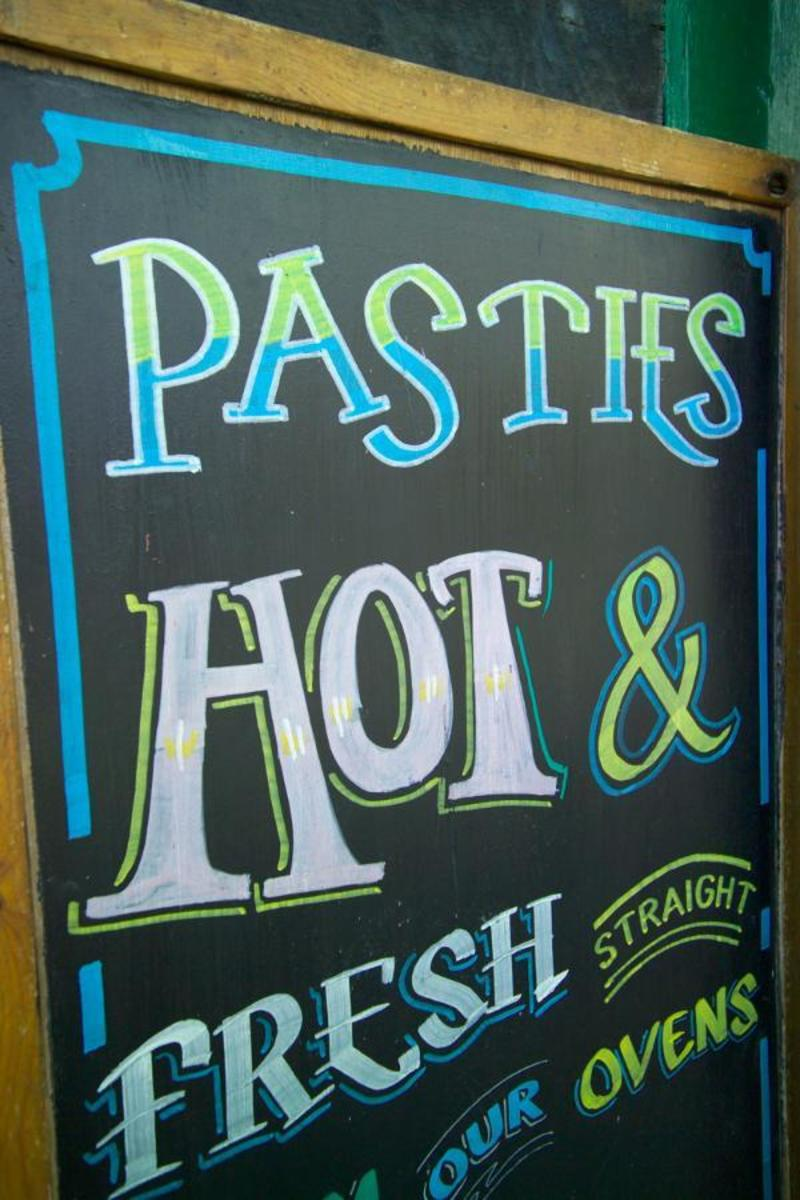 Genuine Cornish Pasty: Cornish Pasty Shop Sign, Newlyn, Cornwall.