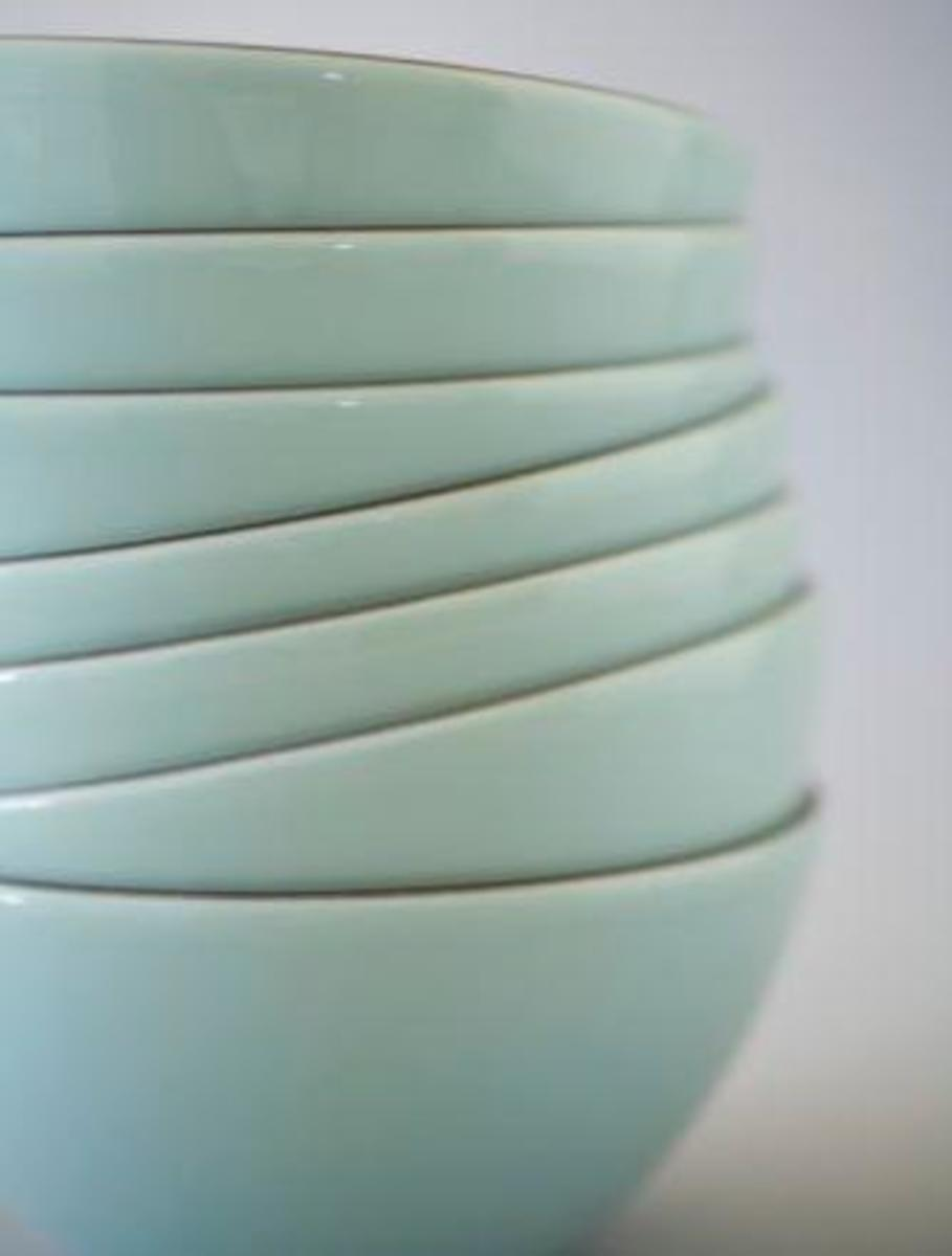 stack of beautiful eggshell blue bowls
