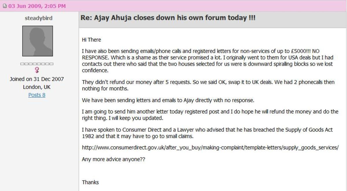 Ajay loses in the small claims court