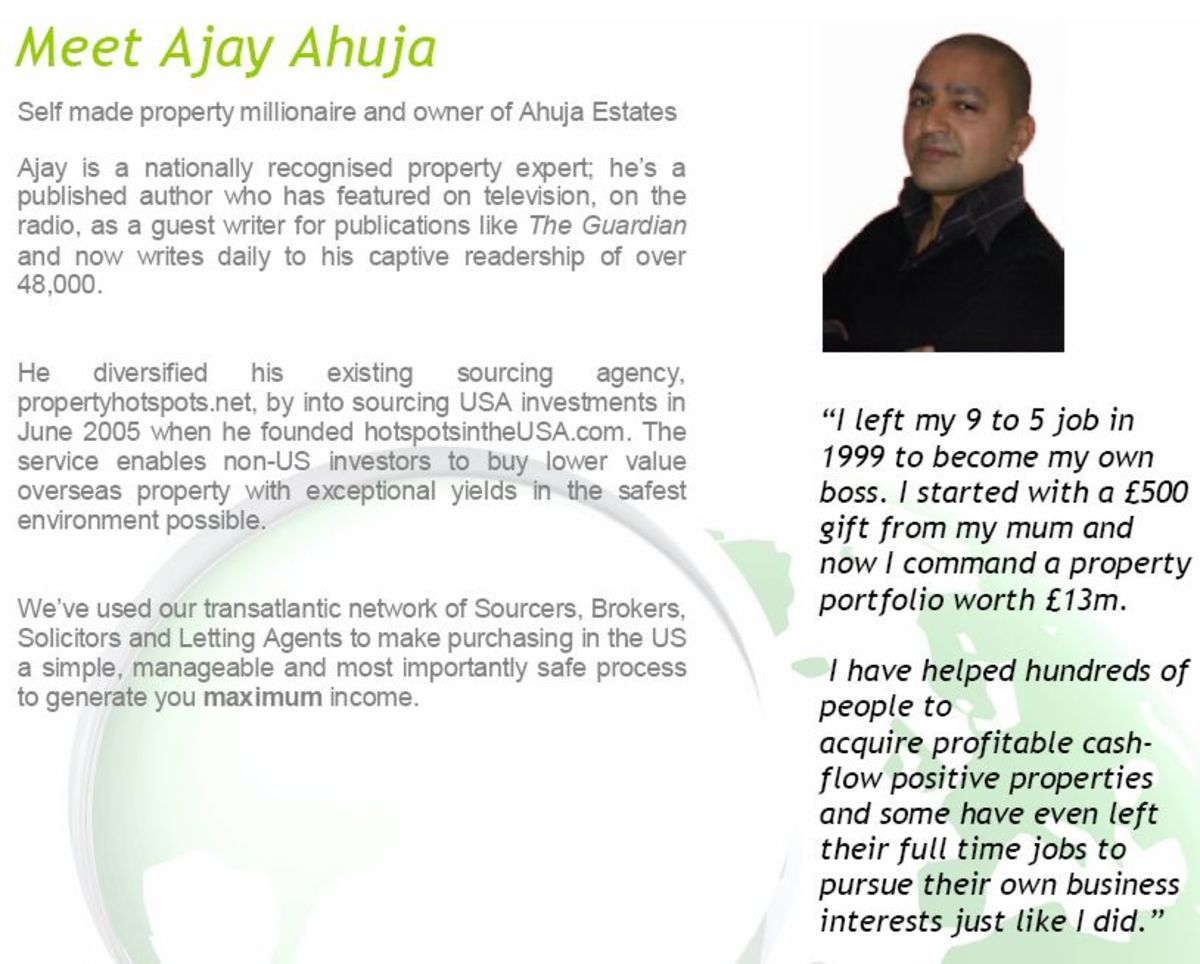Ajay Ahuja USA property promo promising profits