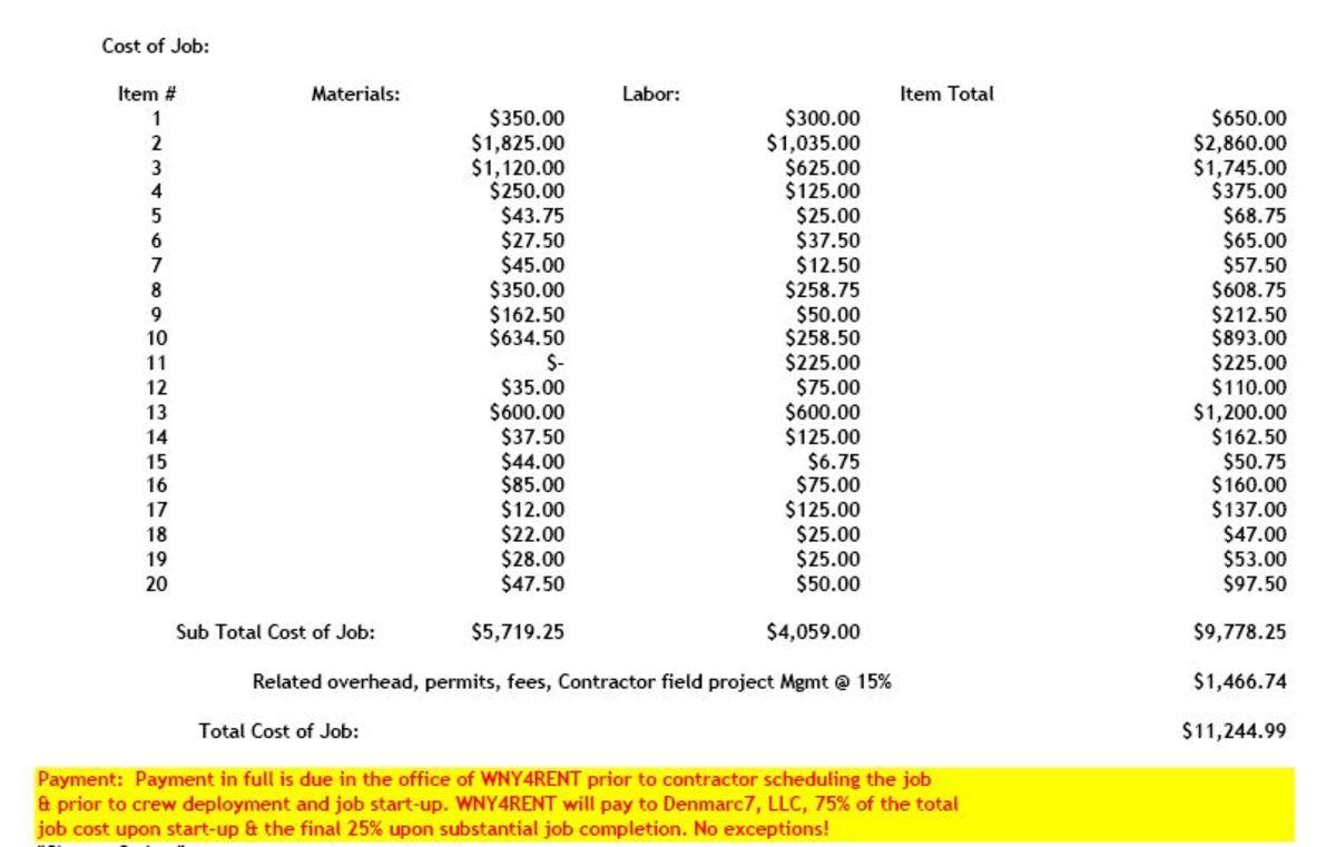 Estimate to repair damage to rear unit - $11,244.99