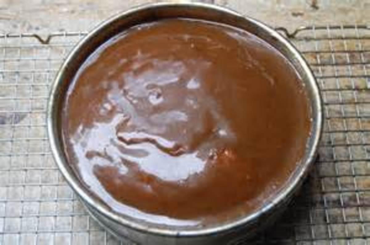 Caramel Glaze poured over an Apple Cake
