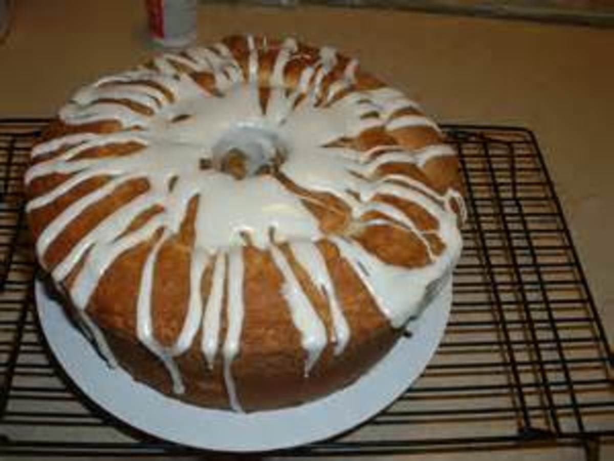 Vanilla Glaze drizzled over a pound cake