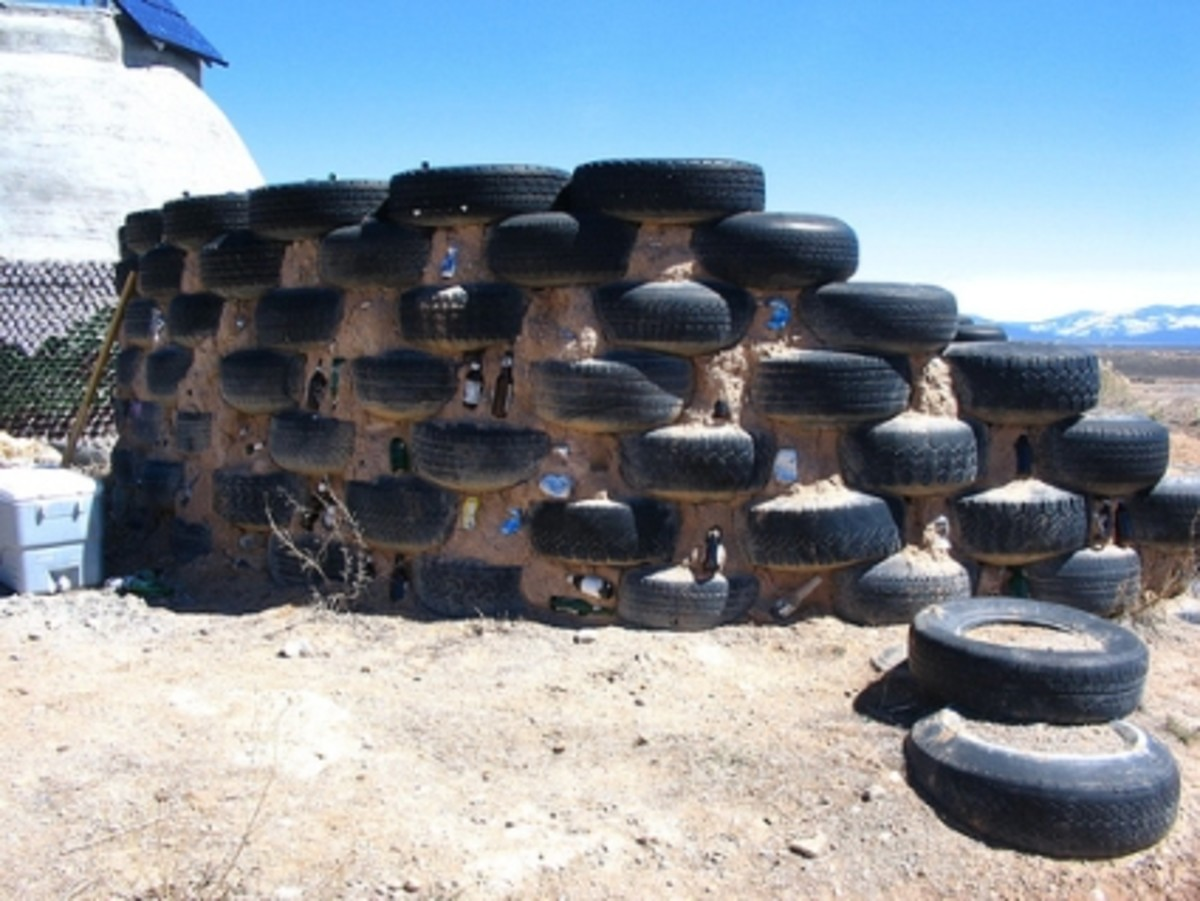 Outside walls of the Earthship