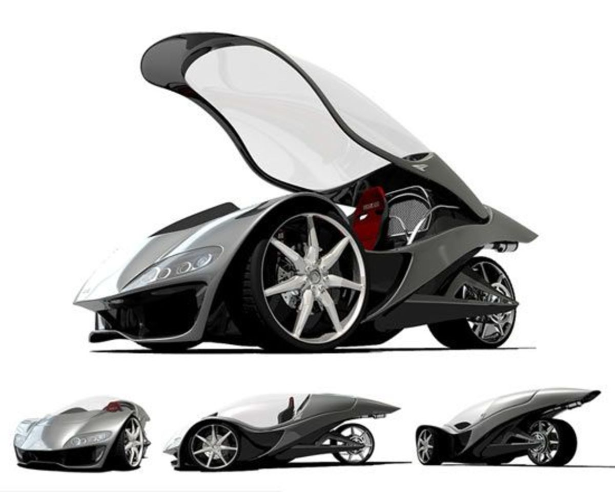 Concept Car of the Future called the Hawk Car, and is a three wheeler,single seat, almost like a bike, and reaches speeds of 233km;h, covered with fibre glass plus plastic leather