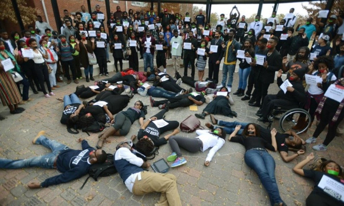 Students at Jackson State University protesting the non-indictment of Michael Brown's killer. Photograph: Joe Ellis/AP