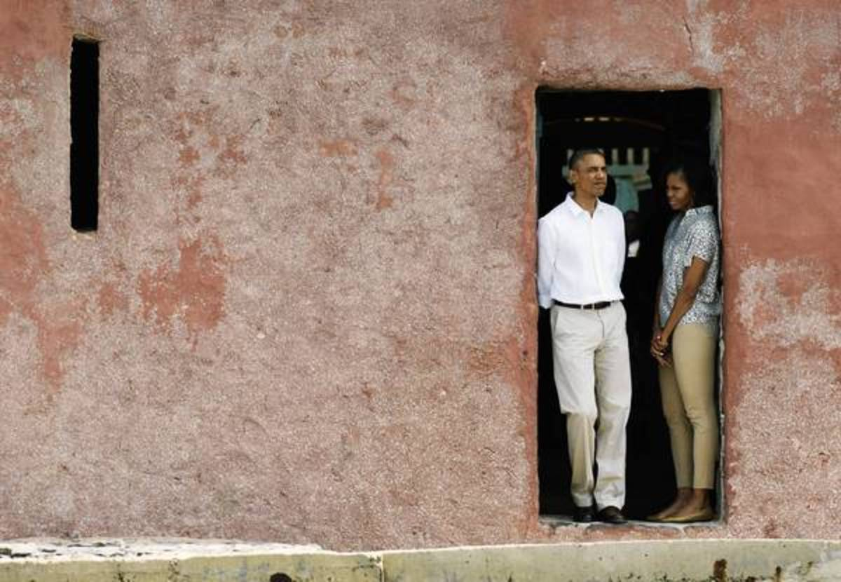 "President Obama visits Goree Island, which he described as a powerful, meaningful experience, and calls for vigilance in the defense of human rights. He said it was especially powerful for his family ""to be able to come here and to fully appreciate t"
