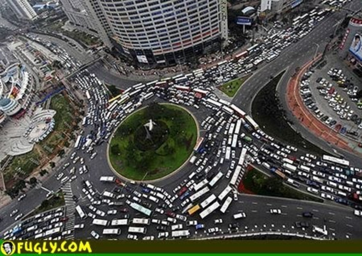 Gridlocks happen in other places than the grid and these traffic jams are very hard to break up. This is caused by us, Humans.  A diagram of from Wikipedia, and a gridlocked circle