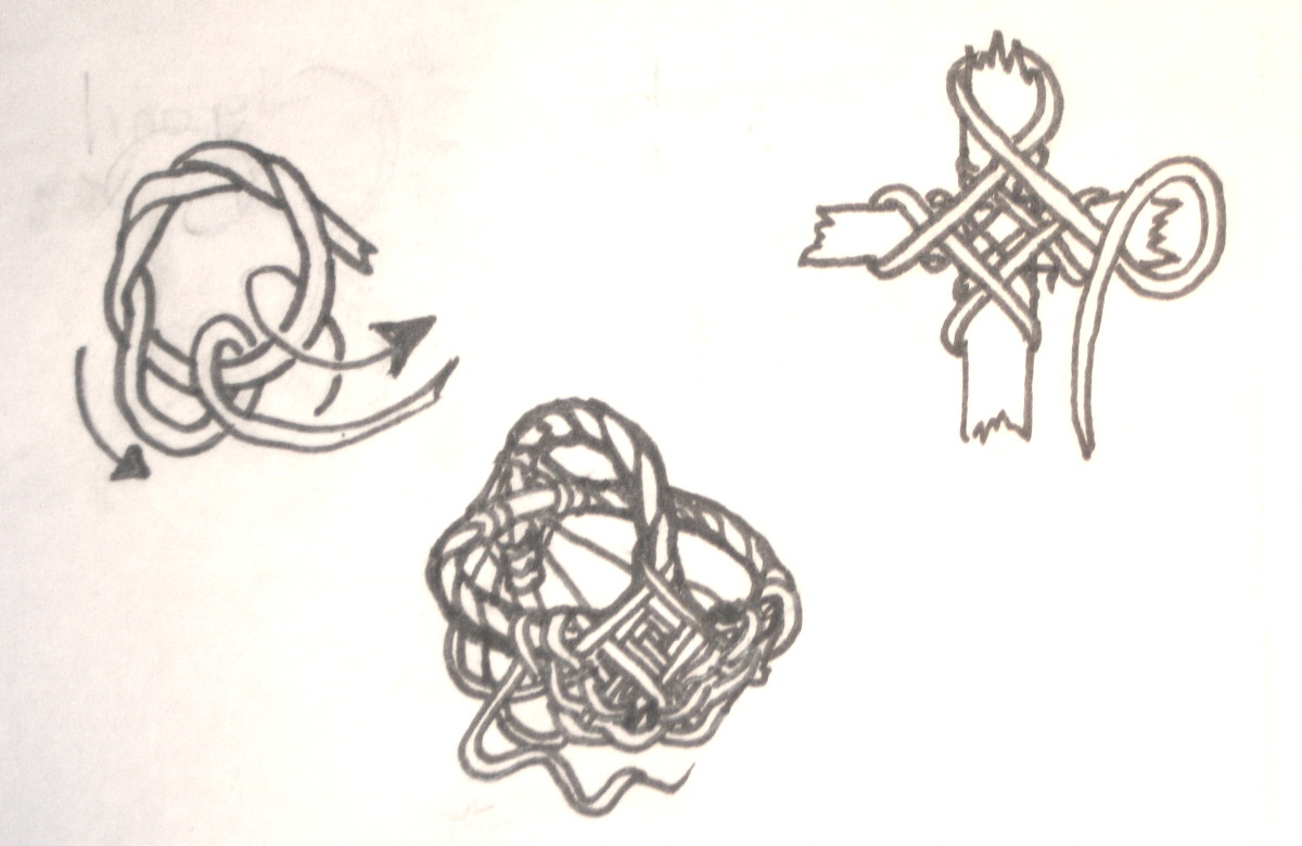 Illustration of basketmaking technique: done in pencil, traced in pen