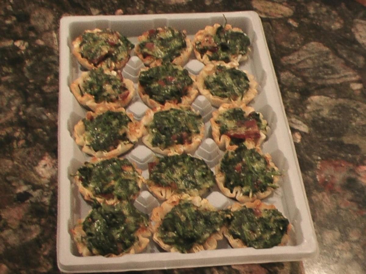 15 beautiful mini spinach quiche appetizers.