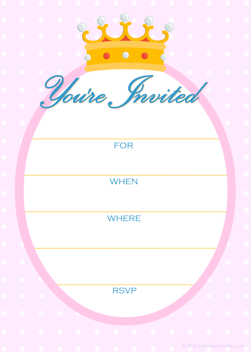 Sample from the Free Princess Party Invitations hub