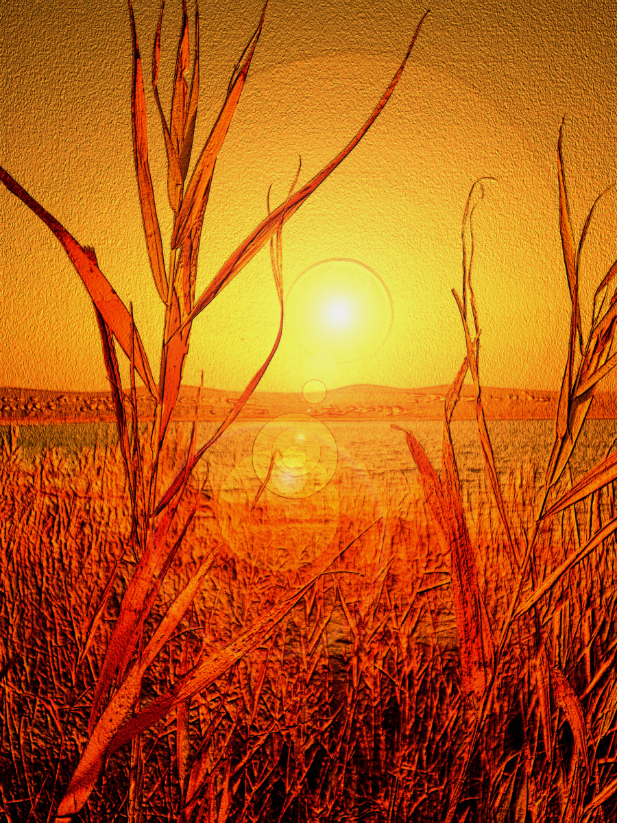 RED SUNSET ON THE CROW LAKE, by Tatjana-Mihaela Pribic