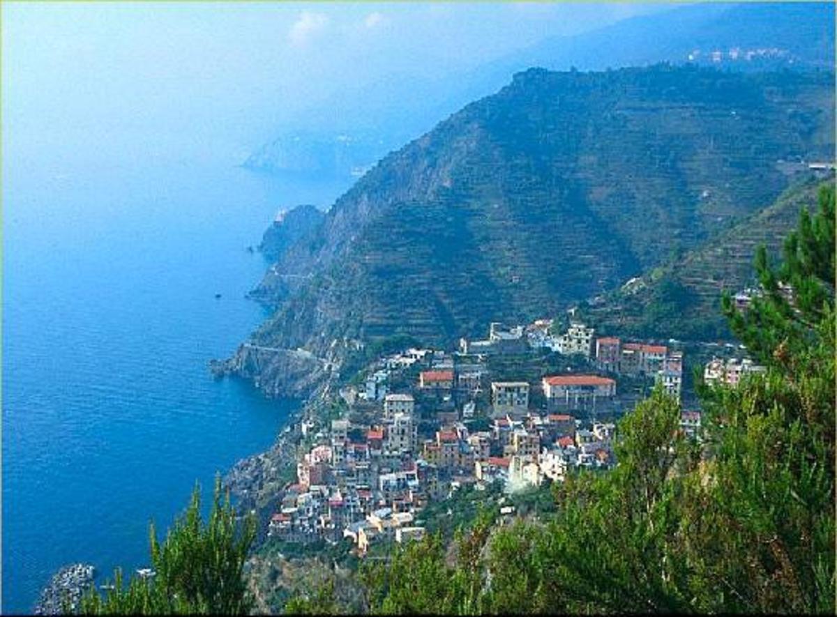 Panoramic photo of Ligurin Coast in Italy