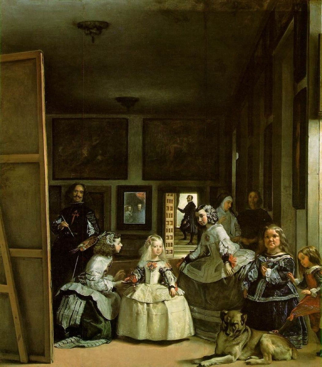 "Velazquez ""The Maids of Honour"" 1656; Prado, Madrid (The artist himself is on your left)"