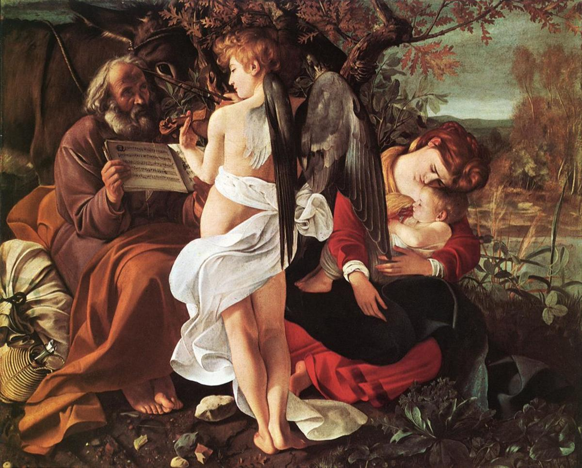 "Caravaggio ""Rest on the Flight into Egypt"" 1597; Doria Pampilj Gallery, Rome"