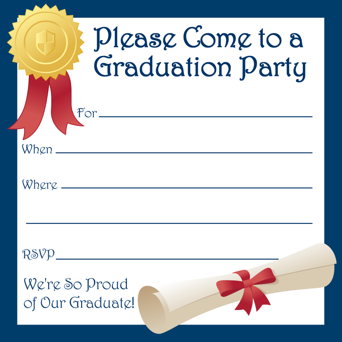 Printable graduation party invite with blue border, seal, red ribbon and diploma