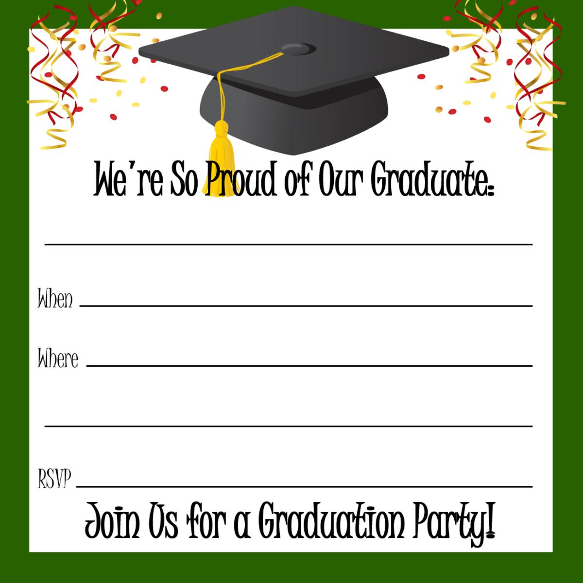 Green border, confetti, streamers and graduation hat
