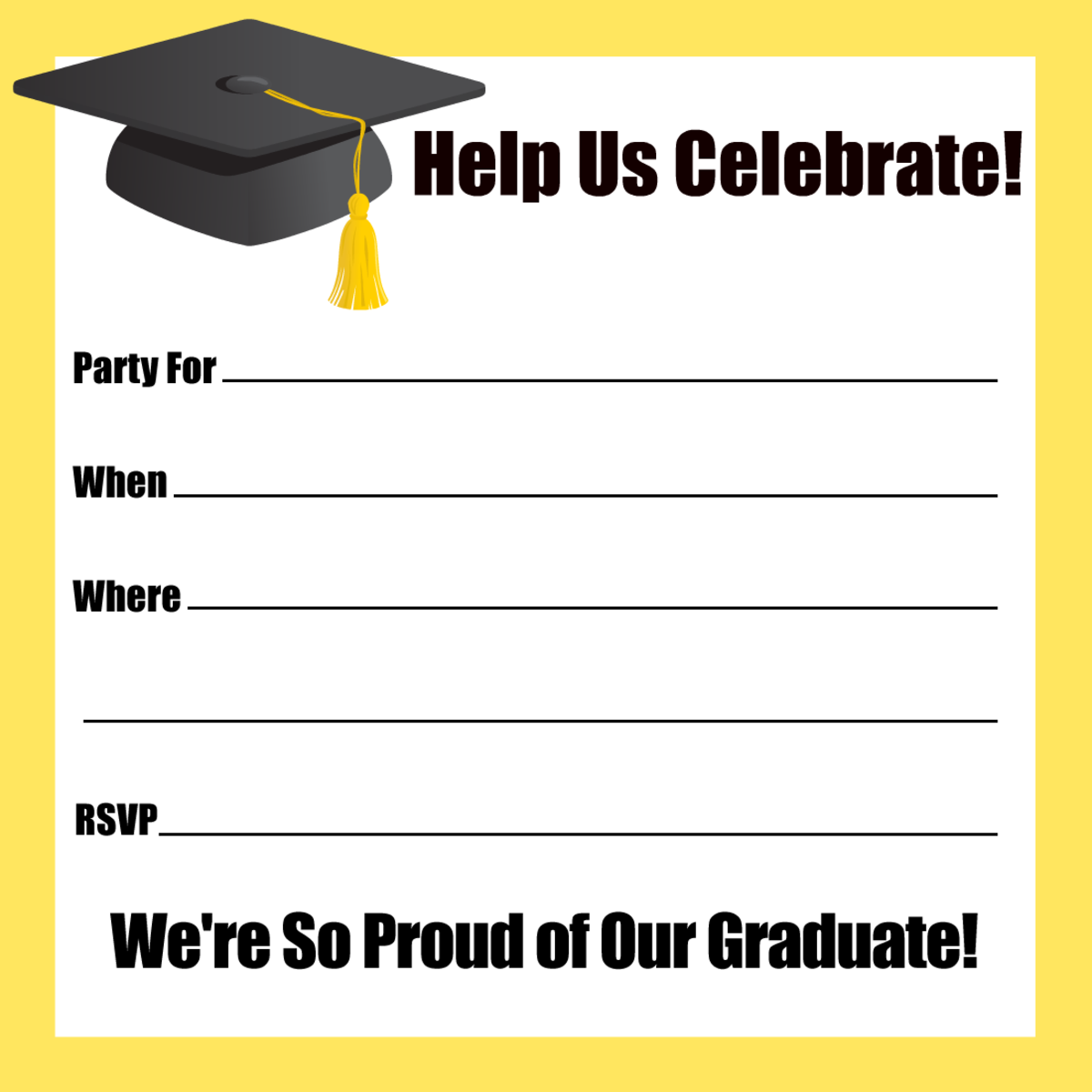 Yellow border and mortarboard
