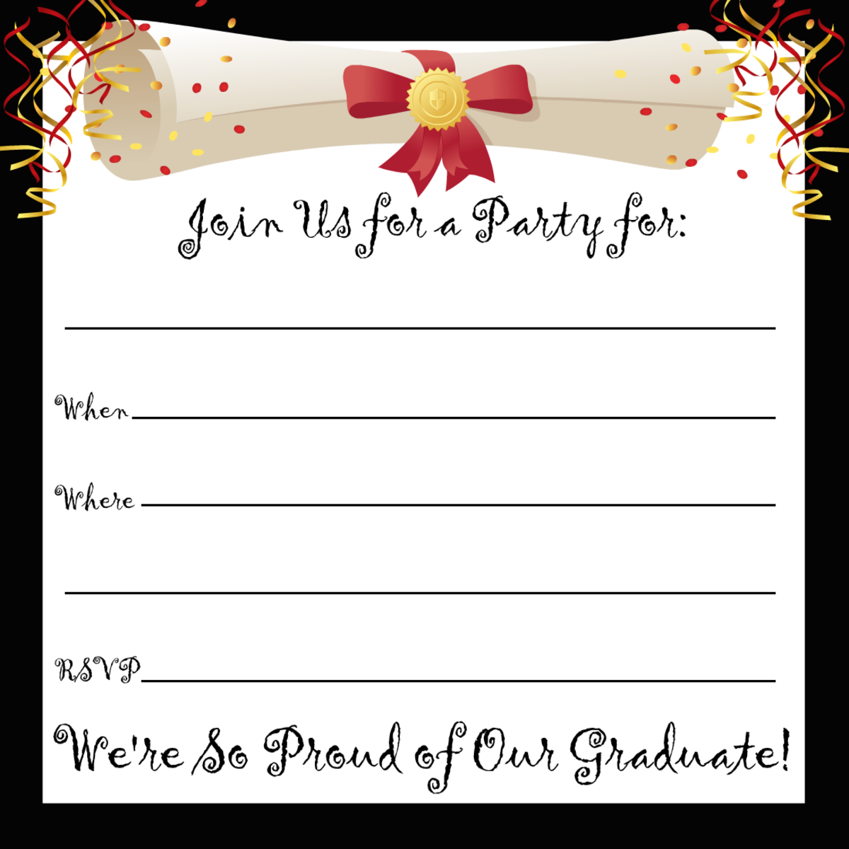Free printable graduation party invitation with black border and diploma