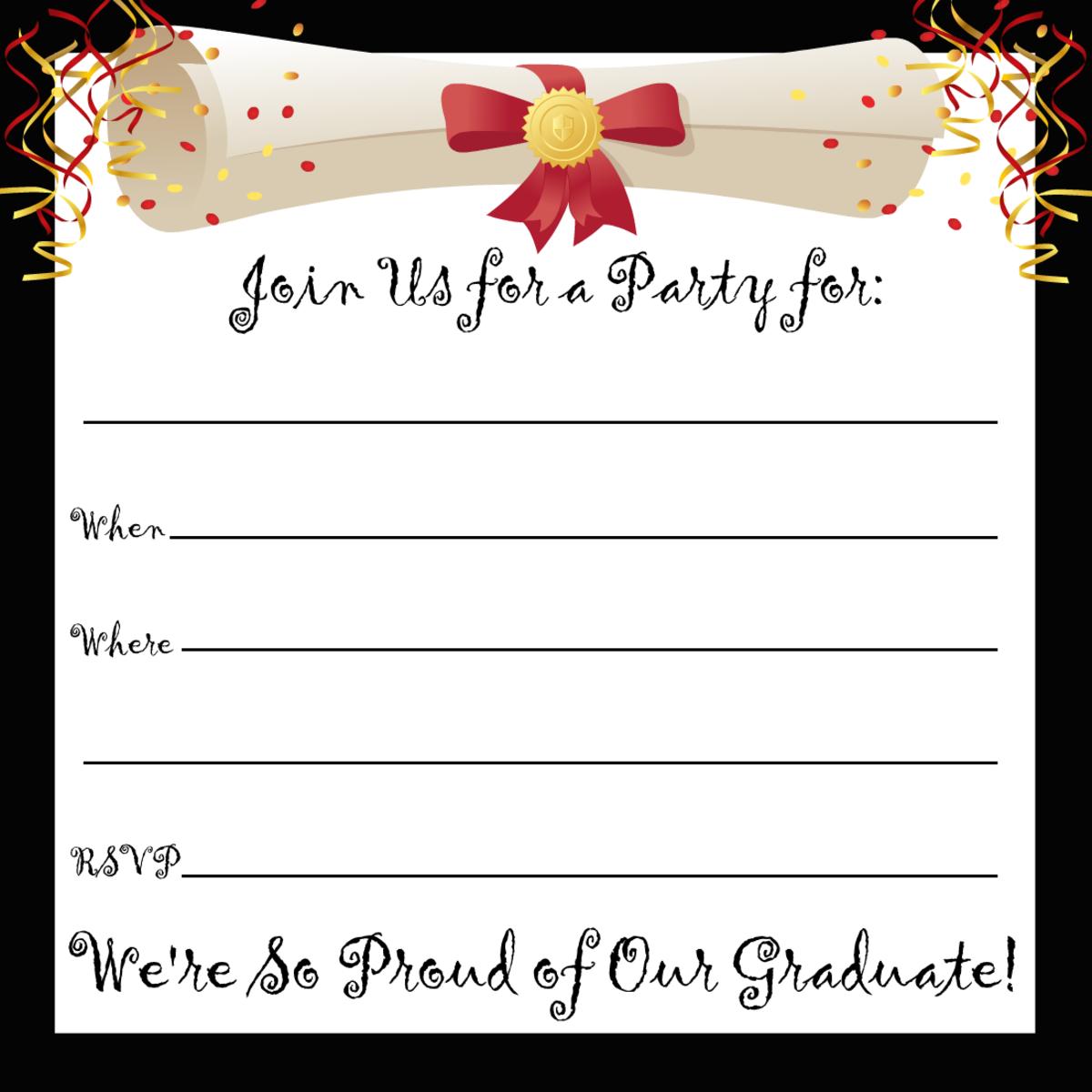 Free printable graduation party invitation with black border and diploma