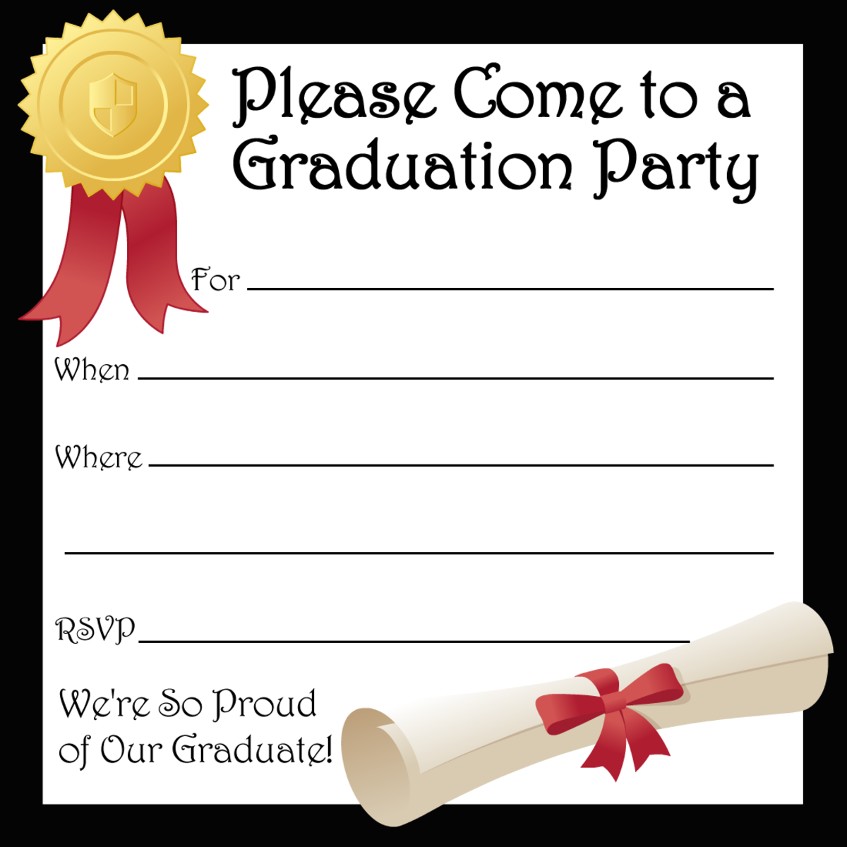 Free printable graduation party announcement with black border, seal, red ribbon and diploma