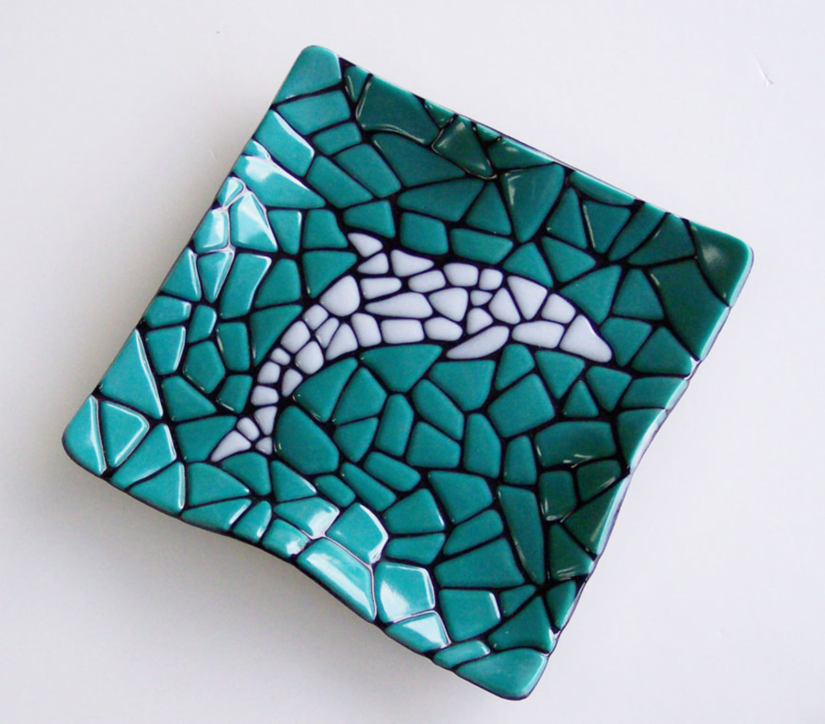 "Fused Glass mosaic 8""x8"" dish made with three colors of Bullseye glass."