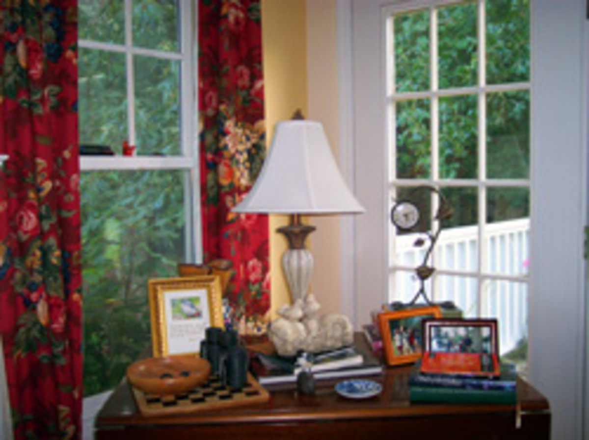 Bright, colorful curtains add interest and color to this quiet spot.