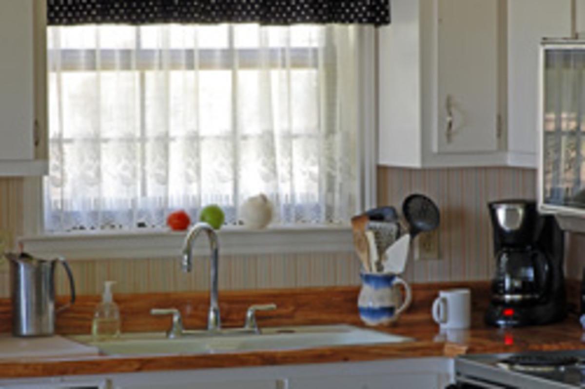 Vintage kitchen window over the sink.
