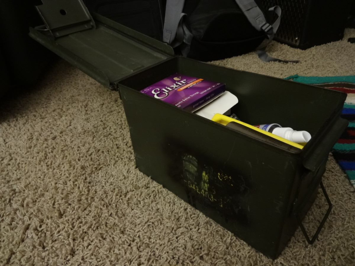 The airtight nature of the ammo box is perfect for strings because it keeps them dry and prevents corrosion.