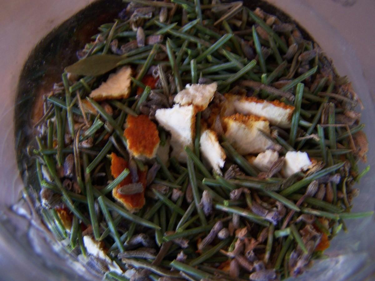 Lavender, Orange Peel, and Blue Spruce pine needles, simmering.