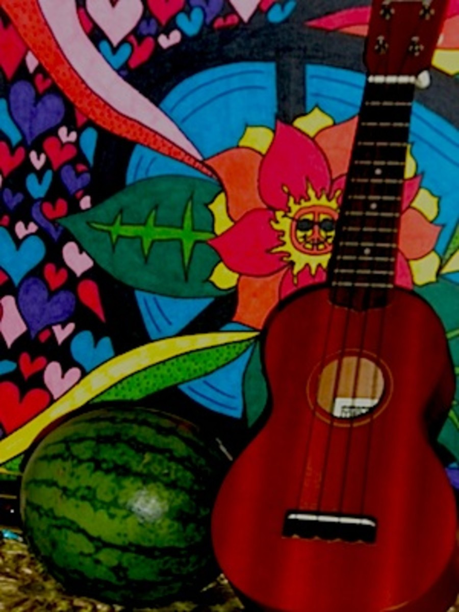 Some of my fun art, some yummy, healthy food, and my uke!