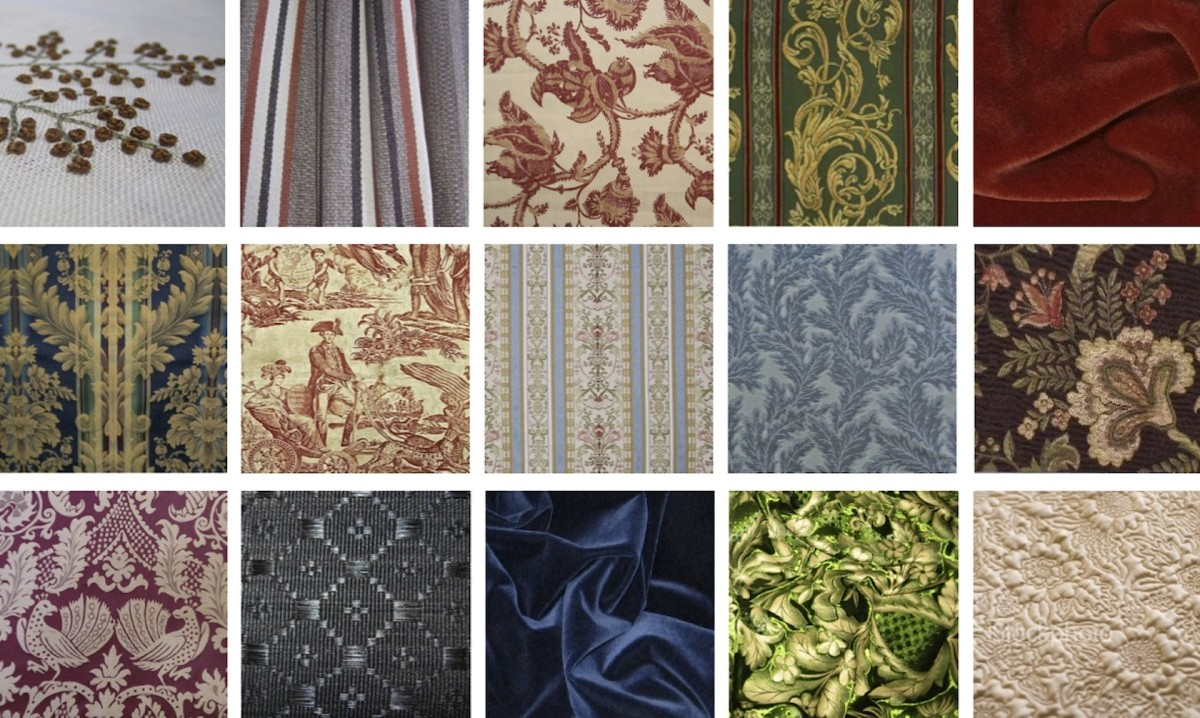 Vintage and new historic and reproduction fabrics ranging from wool and cotton to silk and horsehair in designs from the early 1700s through the early 1900s. Courtesy of