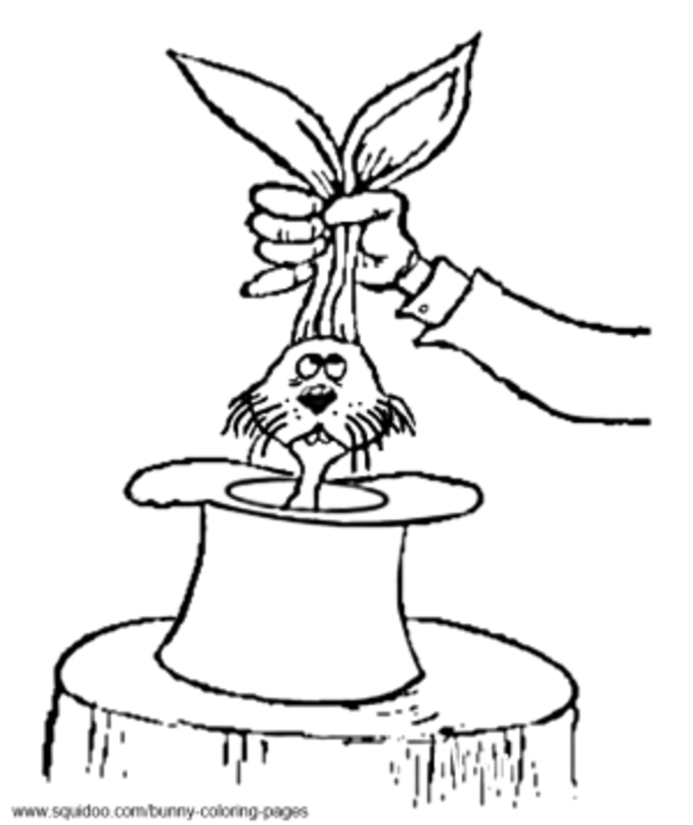 magic rabbit in a hat coloring pages