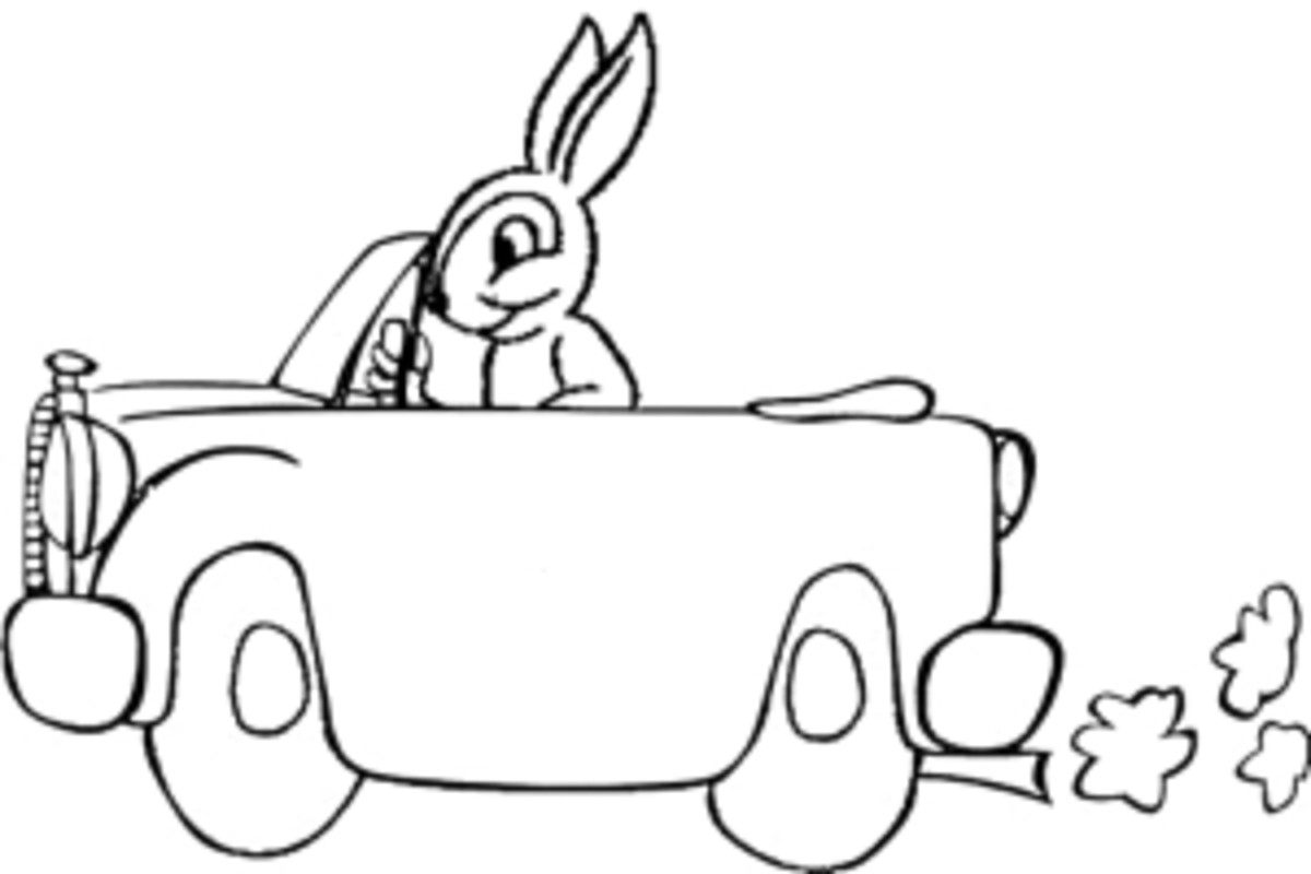 Rabbits on Wheels Coloring Pages