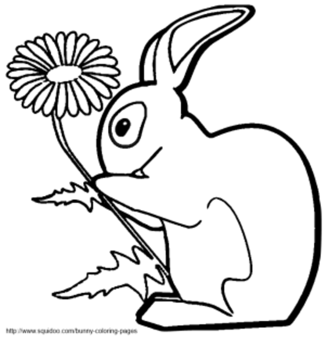 Bunny and Flowers Coloring Pages