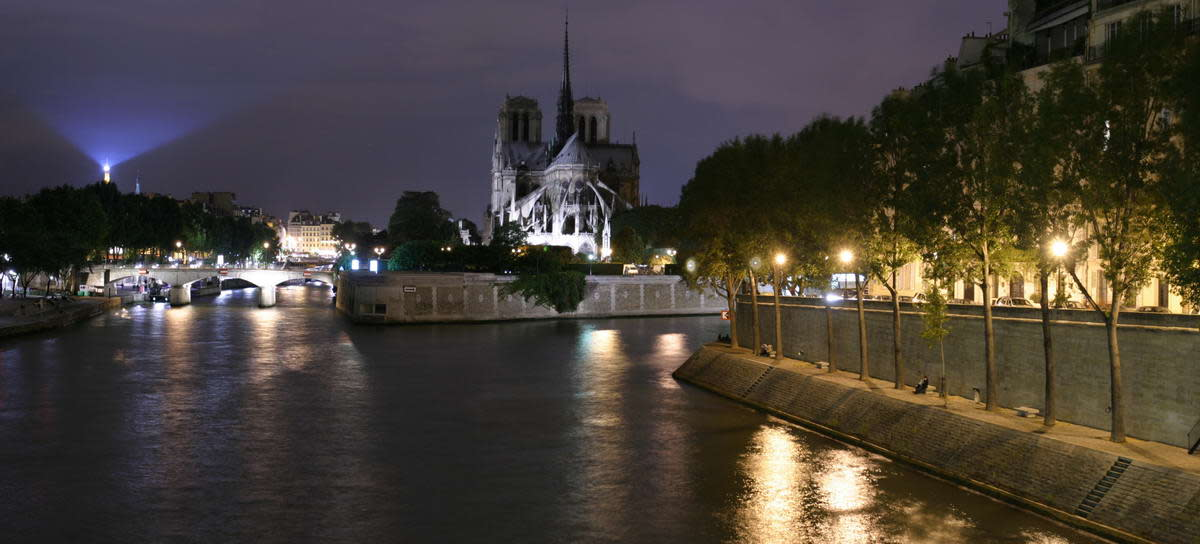 Notre Dame on the Seine at night