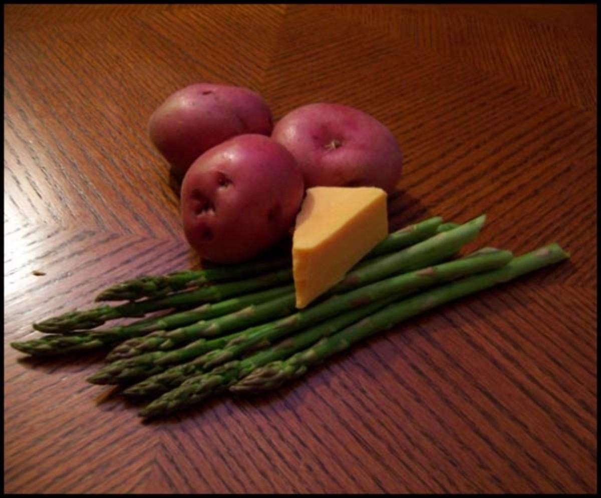 Asparagus, potato, cheese gratin ingredients