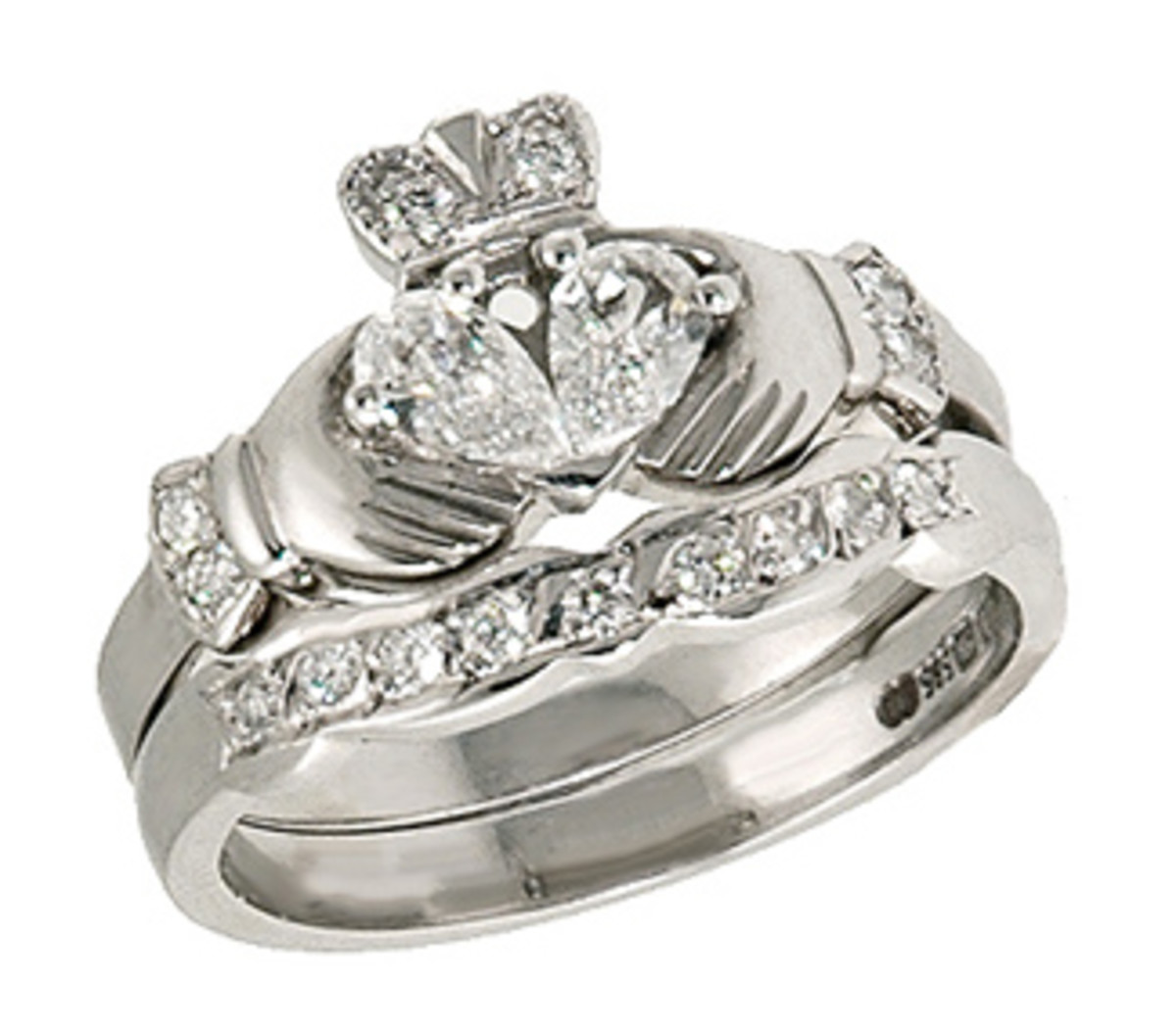 white gold ring claddagh with engagement pin diamond wedding carat rings band matching
