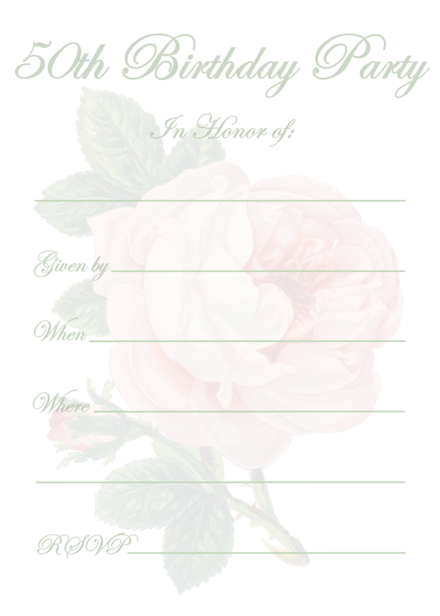 Vintage Pink Rose 50th Birthday Invitation