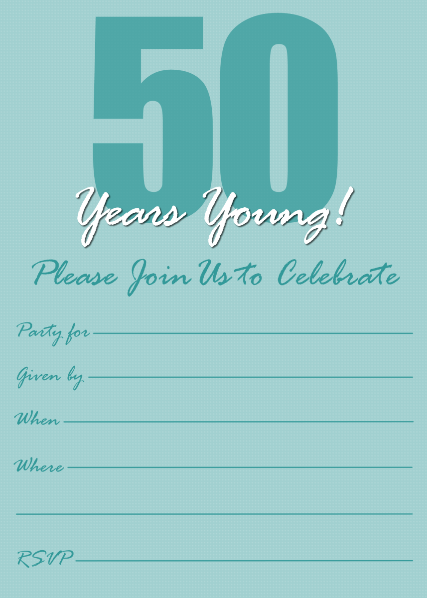 Teal modern 50th birthday party announcement