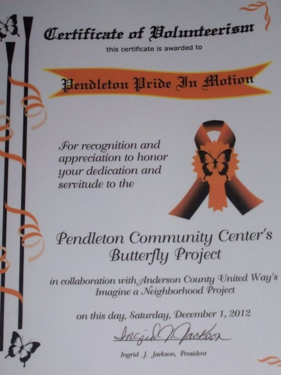 Pendleton Community Center Volunteerism Award to PPIM