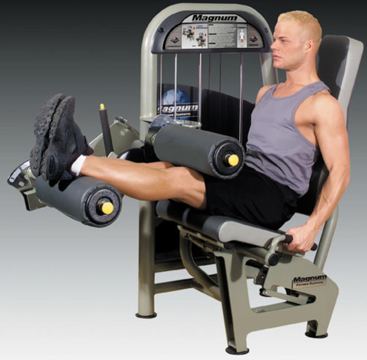 Leg Fitness Exercises on Equipment: Roman Chair, Leg Curls and Squats